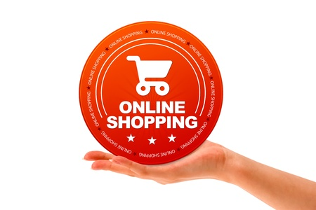 Hand holding a Online Shopping icon on white background. Stok Fotoğraf
