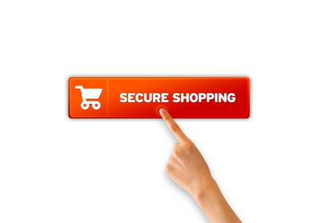 secure shopping: Hand pointing at a Secure Shopping Icon.