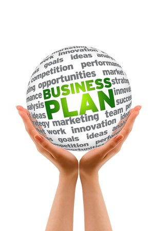 Hands holding a Business Plan 3d Sphere. Stock Photo - 12850557