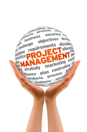 project team: Hands holding a Project Management 3d Sphere.  Stock Photo
