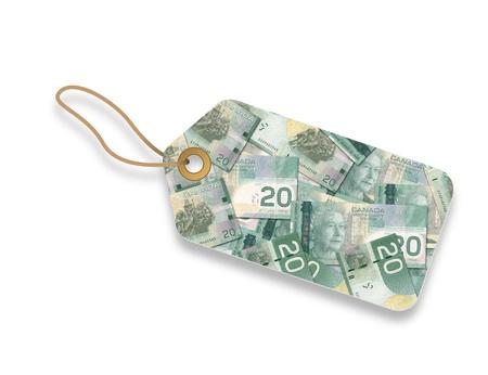 bankroll: Canadian Dollar Label illustration on white background.  Stock Photo
