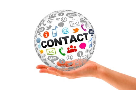 contact: Hand holding a Contact Us 3d Sphere. Stock Photo
