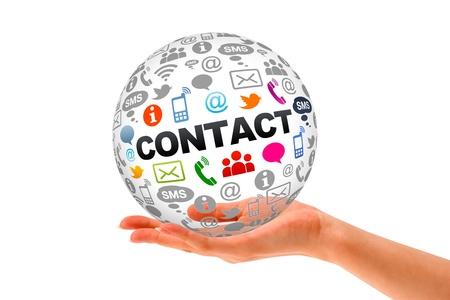 iconos contacto: Mano que sostiene una Cont�ctenos Esfera 3d.
