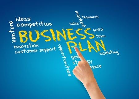financials: Hand pointing at a Business Plan Illustration.