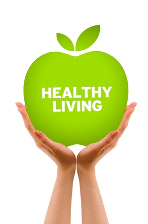 healthy living: Hands holding a Green Healhty Living Apple Illustration. Stock Photo