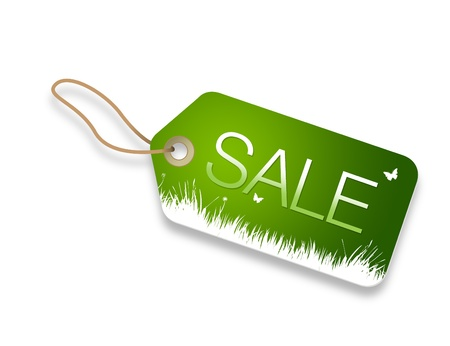 Green spring sale price tag on white background.