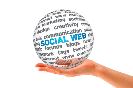 Hand holding a Social Web 3d Sphere. Stock Photo
