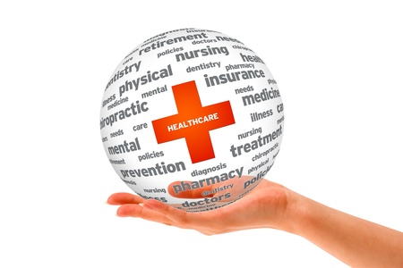 Hand holding a Health Care 3D sphere.  Archivio Fotografico