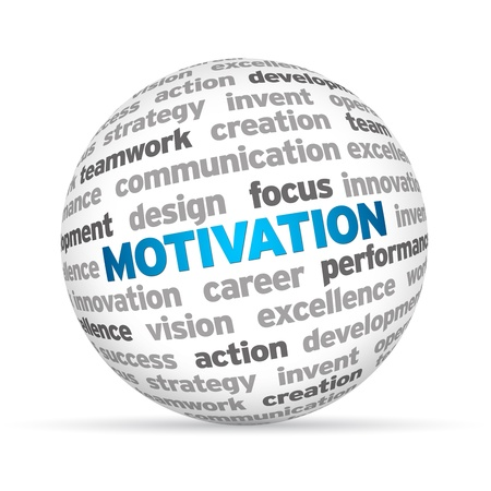 3d Sphere with the word Motivation on white background.  photo
