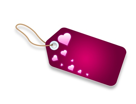 Pink Price Tag with hearts on white background.