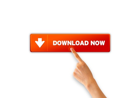 www arm: Hand pointing at a orange download now icon.