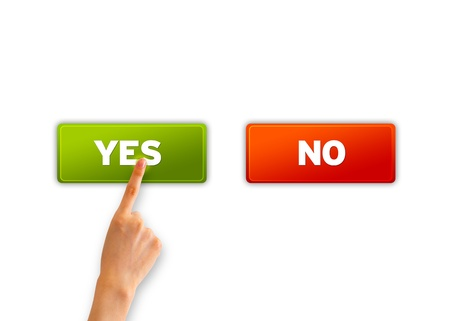 Hand pointing and choosing an green yes icon. Stock Photo - 12850800