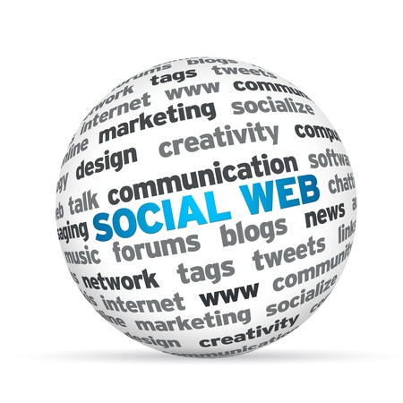 3d Sphere with the word Social Web . photo