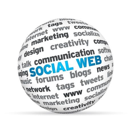 Esfera 3d con la palabra Web Social. Foto de archivo - 12850871