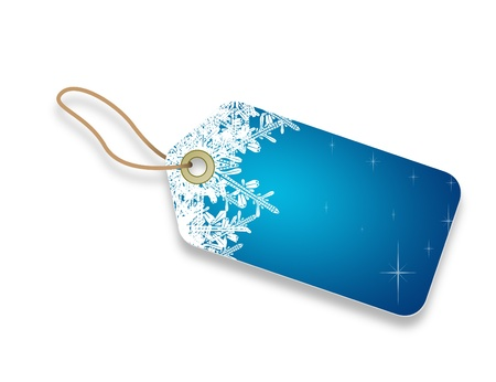ssl: A blue winter theme Price Tag with snow flakes on white background   Stock Photo