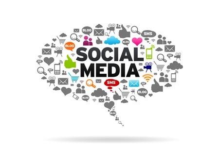 redes de mercadeo: Medios de Comunicaci�n Social burbuja de di�logo en el fondo blanco Foto de archivo