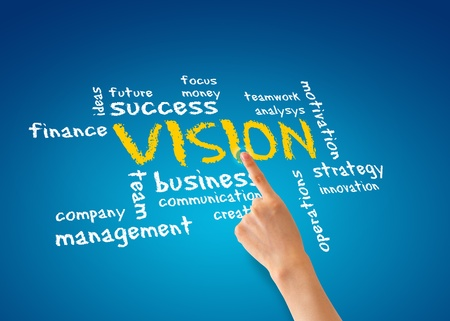 operations: Hand pointing at a vision word cloud illustration