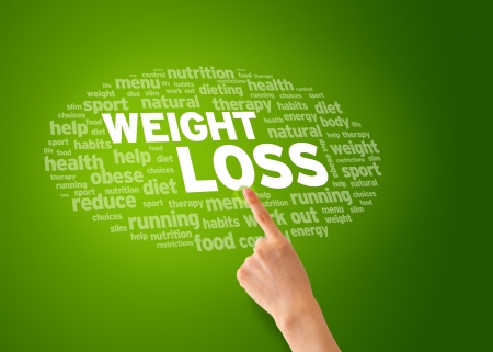 gain: Hand pointing at a Weight Loss word cloud   Stock Photo