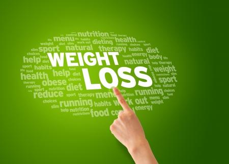 sobrepeso: Mano que se�ala en una nube de peso P�rdida de la palabra