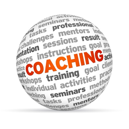 instructing: 3d word Sphere with the word Coaching highlighted in red  Stock Photo