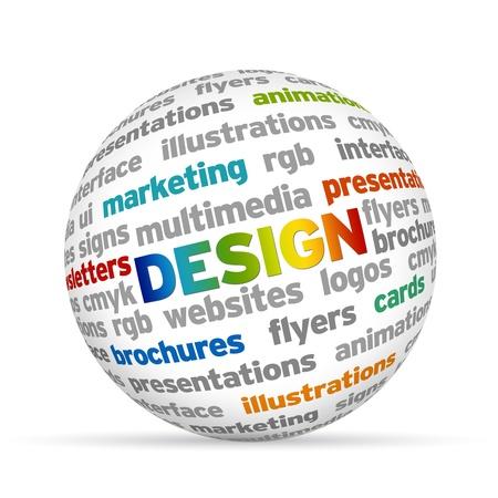 grafisch ontwerp: Kleurrijke 3d Sphere met het woord design