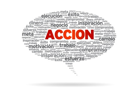 Speech bubble with the word Accion non white background. photo