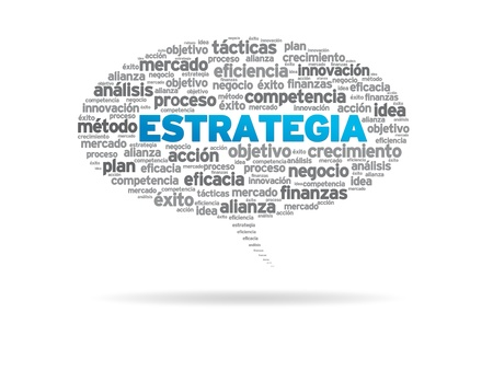 Speech bubble with the word Estrategia on white background. photo