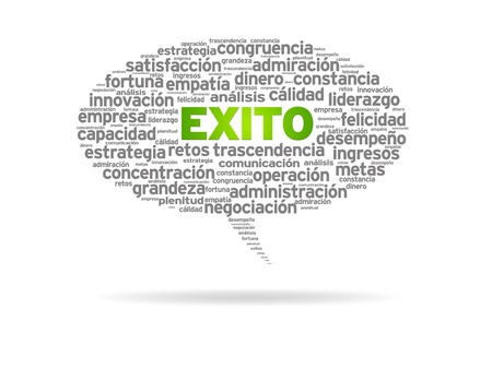 resourcefulness: Speech bubble with the word exito on white background.
