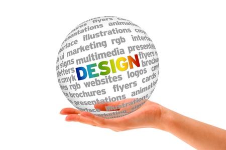Une main tenant une sphère 3D Design sur fond blanc.