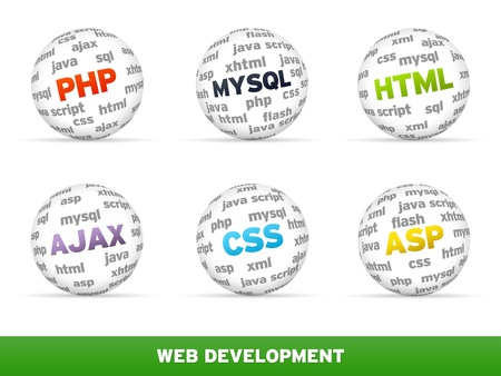 3D Sphere Web development set on white background.