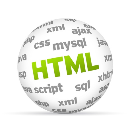 mysql: 3D  Hyper Text Markup Language Sphere on white background. Stock Photo