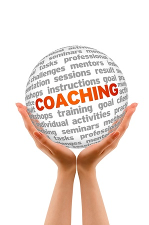Hands holding a 3D Coaching Sphere in white background. Stock Photo - 13027819