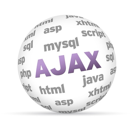 mysql: 3D Ajax sphere with several words on white background. Stock Photo
