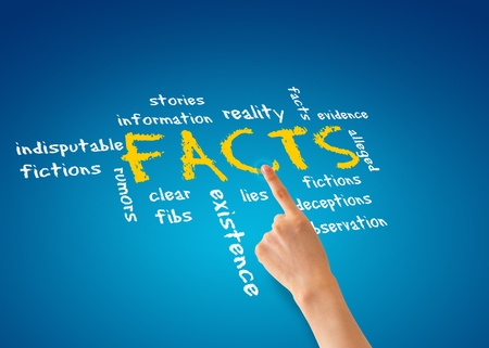 Hand pointing at a facts illustration on blue background.