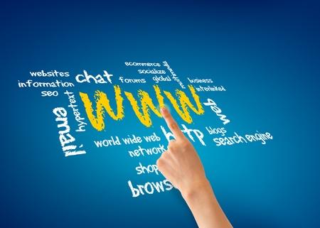 Finger pointing at a world wide web illustration.  illustration