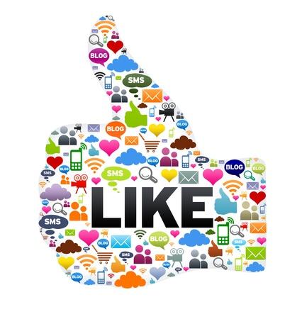 Thumbs up, tels que le bouton sur fond blanc. Banque d'images - 13281257