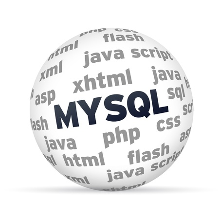 mysql: MYSQL Database 3d Sphere on white background.