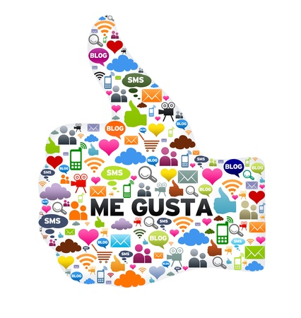 tweet: Thumbs up, Me Gusta button on white background. Stock Photo