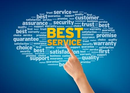 vers  ¶hnung: Hand zeigt auf eine Best Service Wort Wolke auf blauem Hintergrund