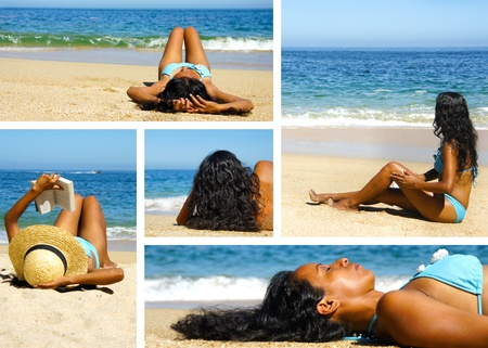 Collage of photos of a woman enjoying herself on the beach   photo