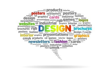 Speech bubble with a design word cloud on white background.