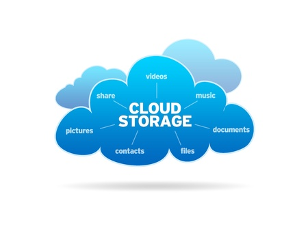 Blue Cloud Storage illustration on white background.