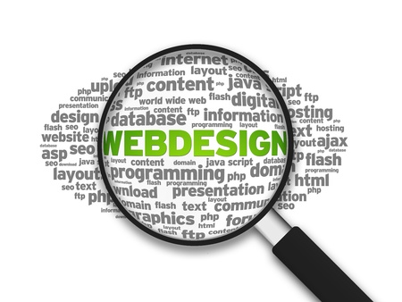 Magnifying glass zooming in on a Webdesign word cloud Stock Photo - 13428541