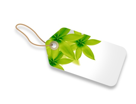 keychains: Price Tag with green floral elements on white background.
