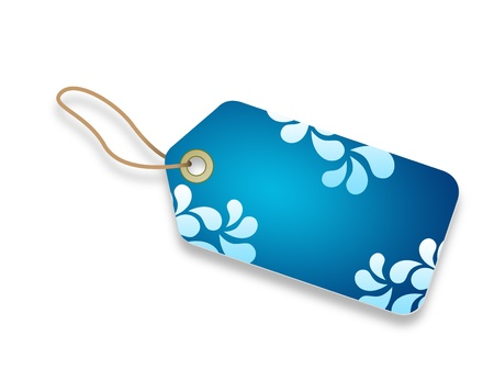 keychains: A Blue Price Tag with floral elements.