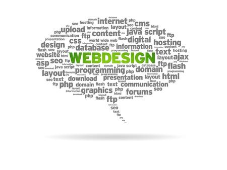 Webdesign word speech bubble on white background.  photo