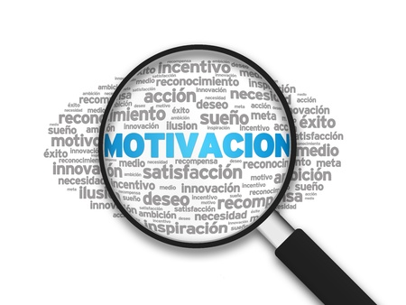 Magnified illustration with the word Motivation on white background. illustration