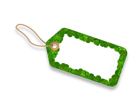keychains: A white Price Tag with floral elements.