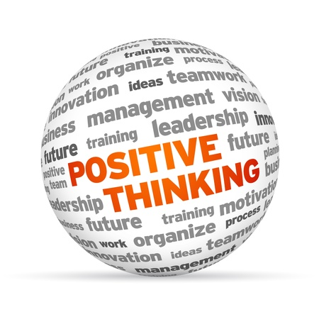 Positive Thinking word 3 Sphere on white background. photo