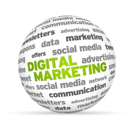 redes de mercadeo: Palabra de Marketing Digital 3d esfera sobre fondo blanco. Foto de archivo